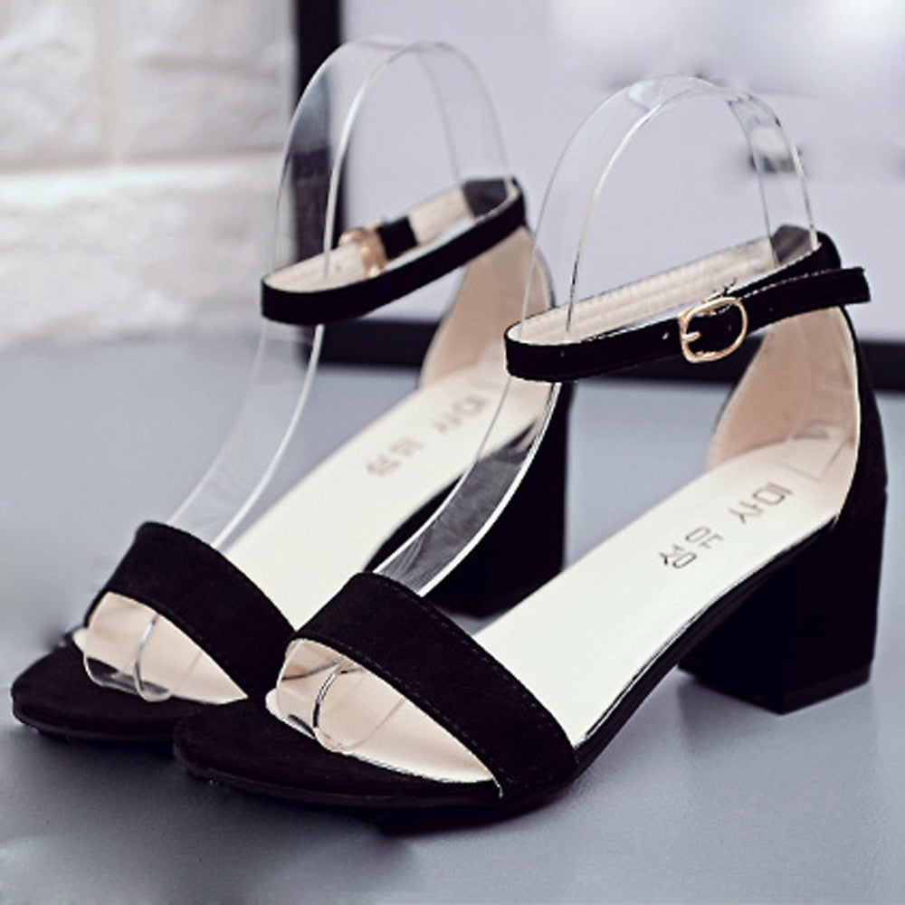 Heel Sandal With Ankle Strap-Pretty Shining People
