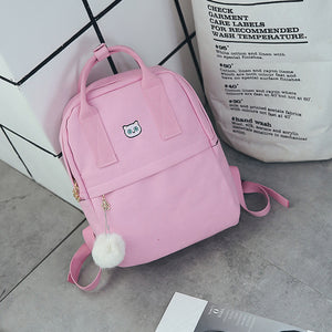 Backpack With Embroidery-Pretty Shining People-Pink-Pretty Shining People