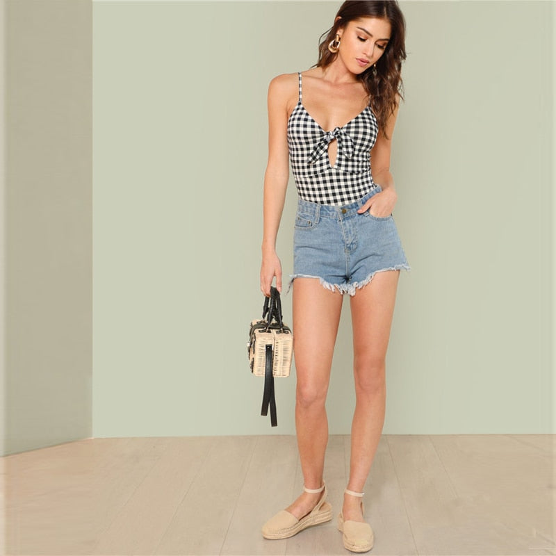 Plaid Cut Out Knot Bodysuit