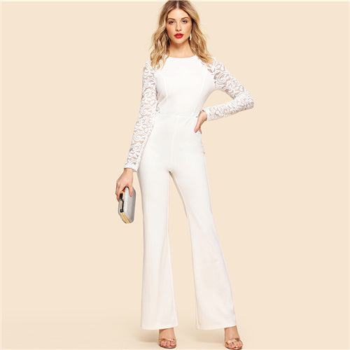 White Lace Jumpsuit-Pretty Shining People