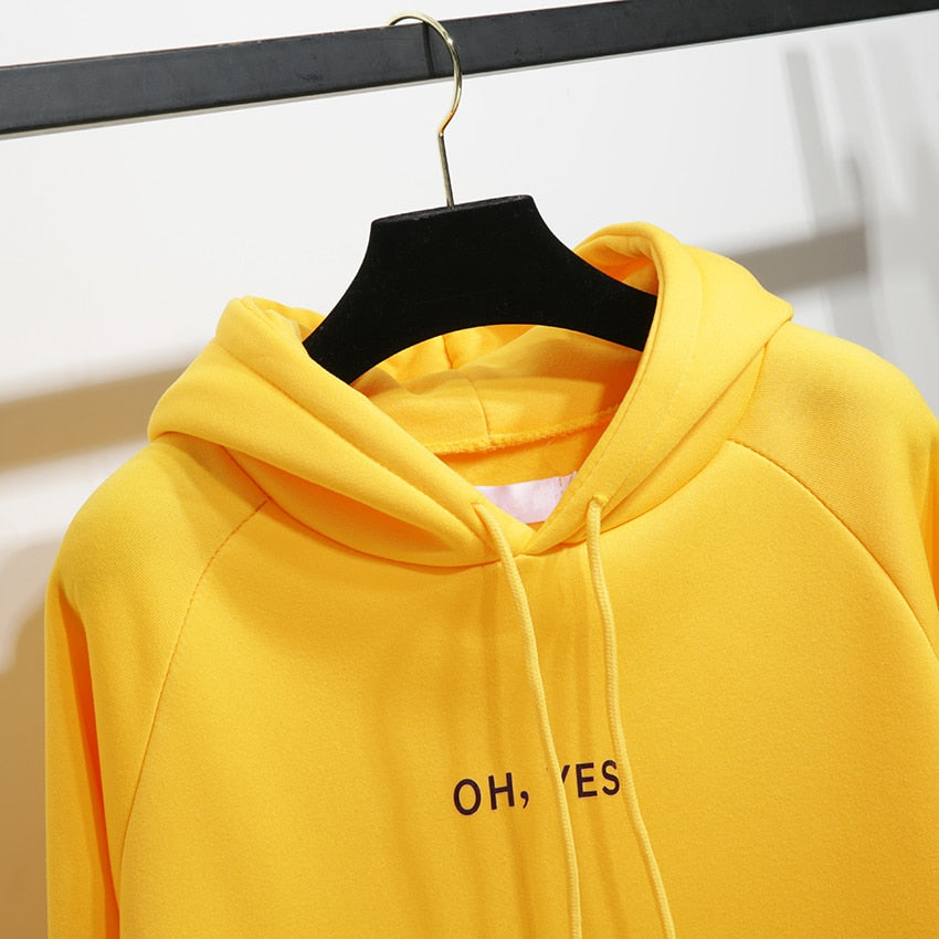 Oh Yes Hoodie-Pretty Shining People-Yellow-XL-Pretty Shining People