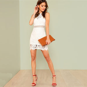 White Hollow Out Lace Dress-Pretty Shining People