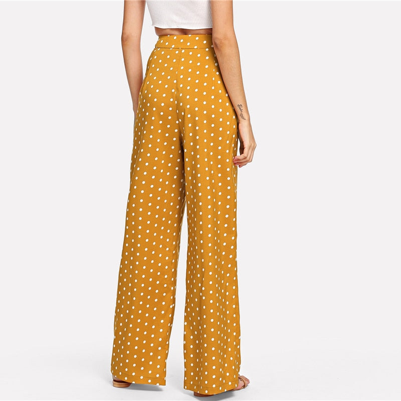 Polka Dot Side Button Wide Leg Pants