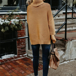 Beige Turtleneck Sweater Back View-Pretty Shining People