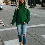 Green Turtleneck Sweater-Pretty Shining People
