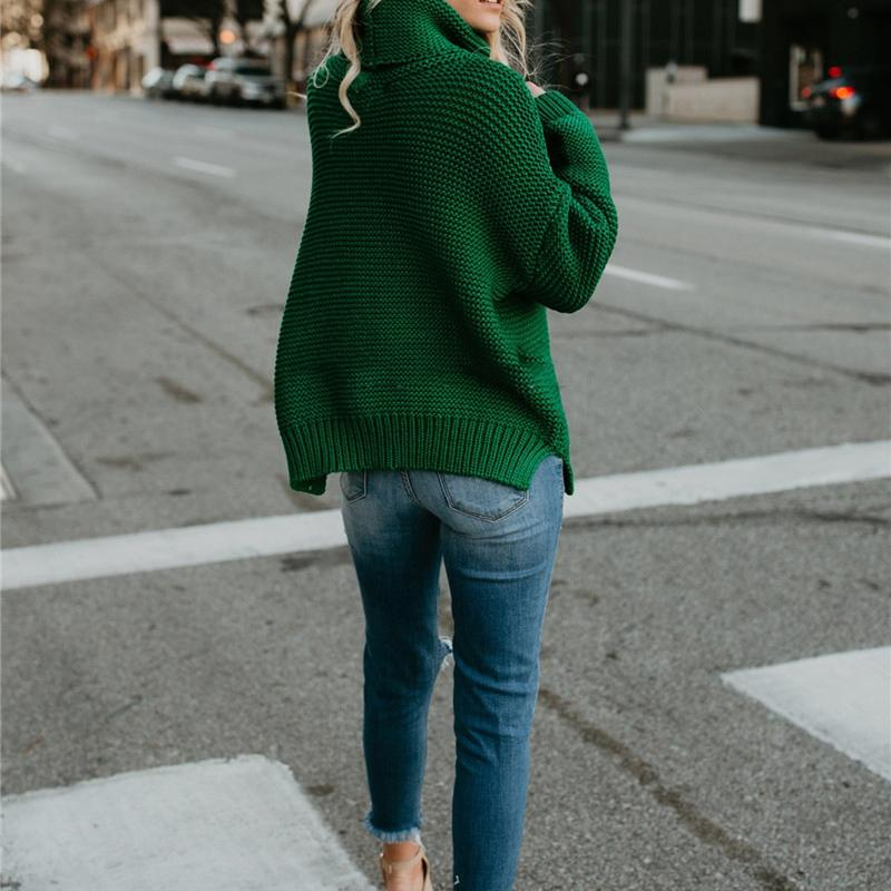 Green Turtleneck Sweater Back View-Pretty Shining People