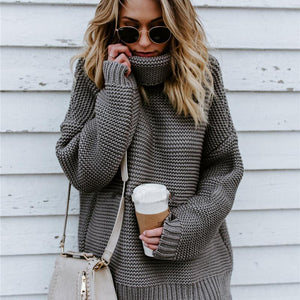 Gray Turtleneck Sweater Front View-Pretty Shining People