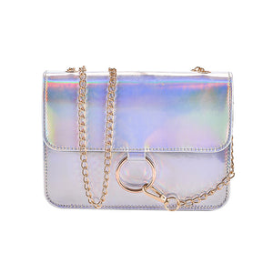 Holographic Shoulder Bag-Pretty Shining People-Silver-Pretty Shining People