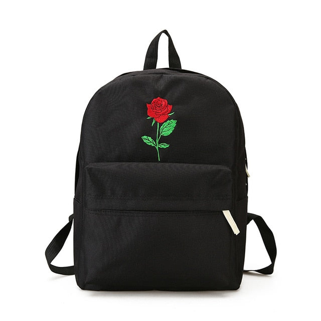 Rose Embroidery Backpack