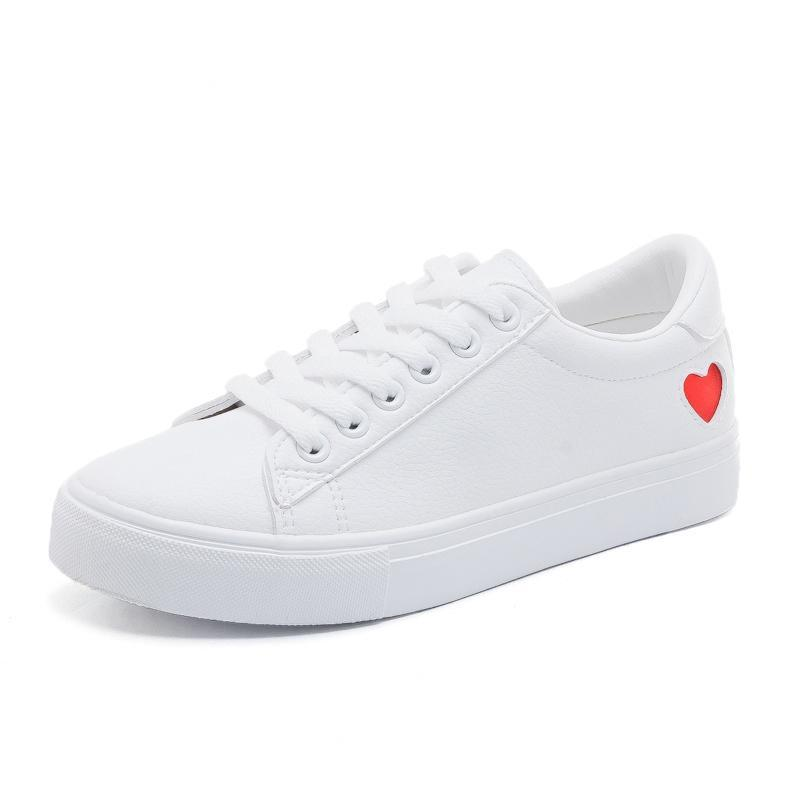 casual leather heart sneakers-Pretty Shining People-Pretty Shining People