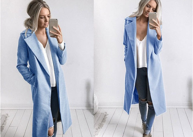 Slim Overcoat-Pretty Shining People-Blue-S-Pretty Shining People