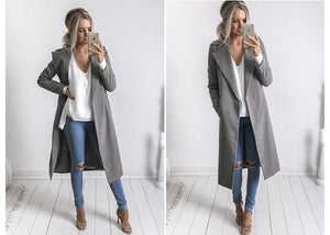 Slim Overcoat-Pretty Shining People-Gray-S-Pretty Shining People