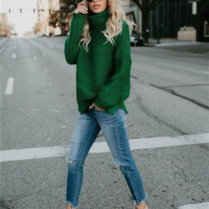 Green Turtleneck Sweater Front View-Pretty Shining People