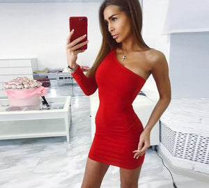 One Shoulder Slope Long Sleeve Bodycon Dress-Pretty Shining People