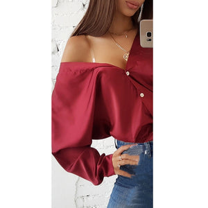 Solid Button Blouse-Pretty Shining People-Pretty Shining People