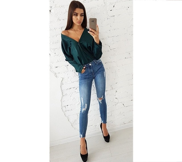 Solid Button Blouse-Pretty Shining People-green-L-Pretty Shining People