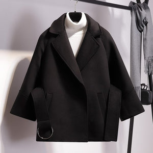 Short Woolen Coat-Pretty Shining People-Black-S-Pretty Shining People