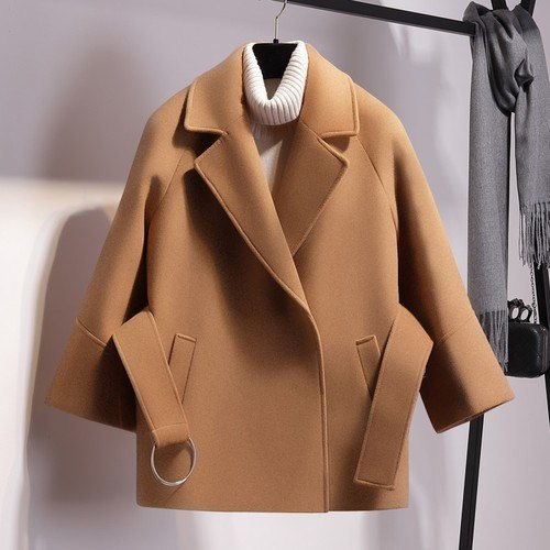 Short Woolen Coat-Pretty Shining People-Khaki-S-Pretty Shining People