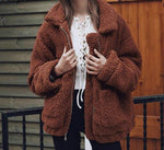 Oversized Fleece Jacket-Pretty Shining People-Red-brown-S-Pretty Shining People