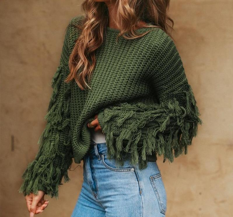 Army Green Tassel Knitted Sweater-Pretty Shining People