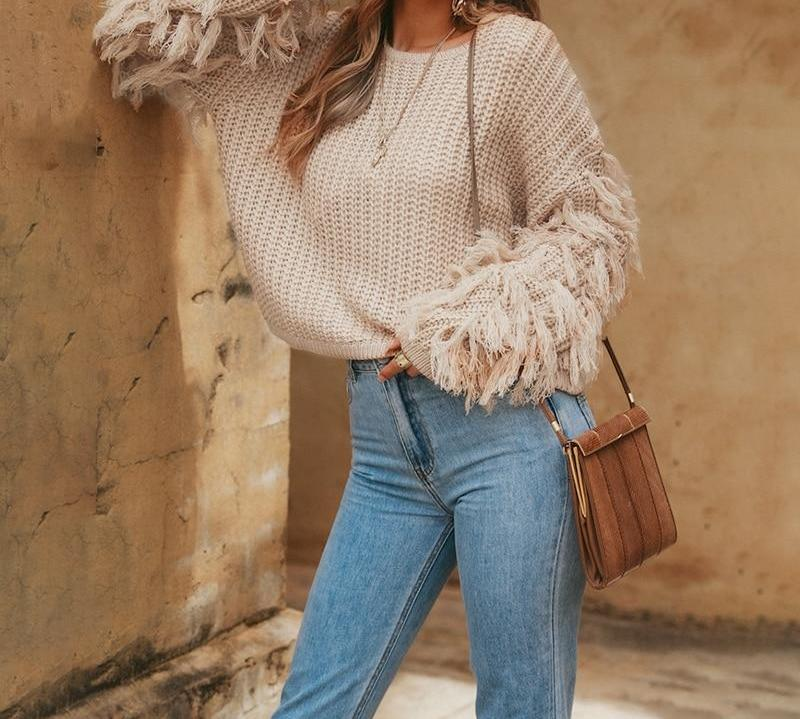 Apricot Tassel Knitted Sweater-Pretty Shining People