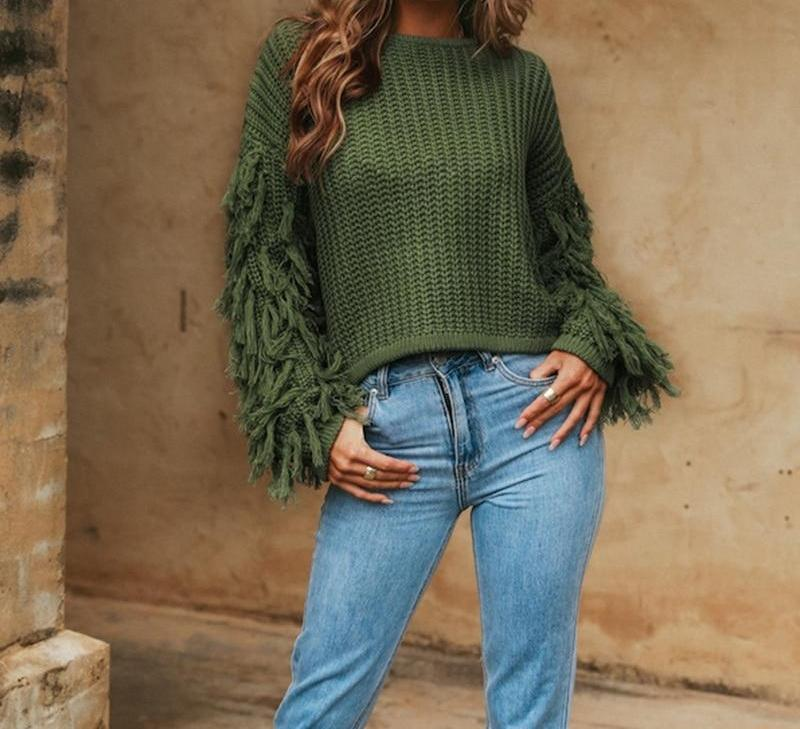 Tassel Knitted Sweater-Pretty Shining People