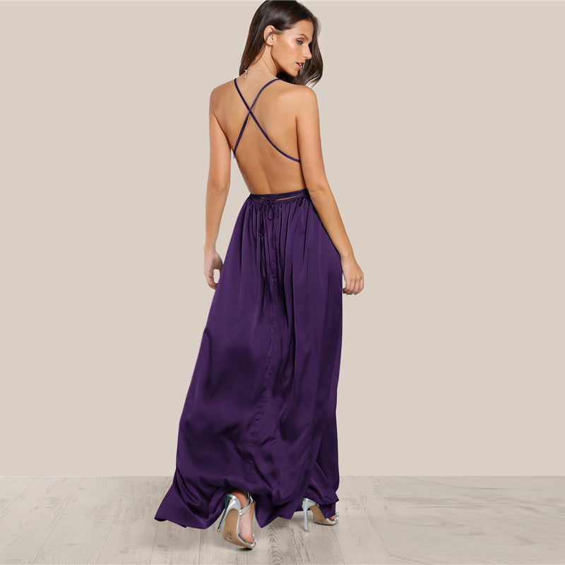 High Slit Satin Dress-Pretty Shining People