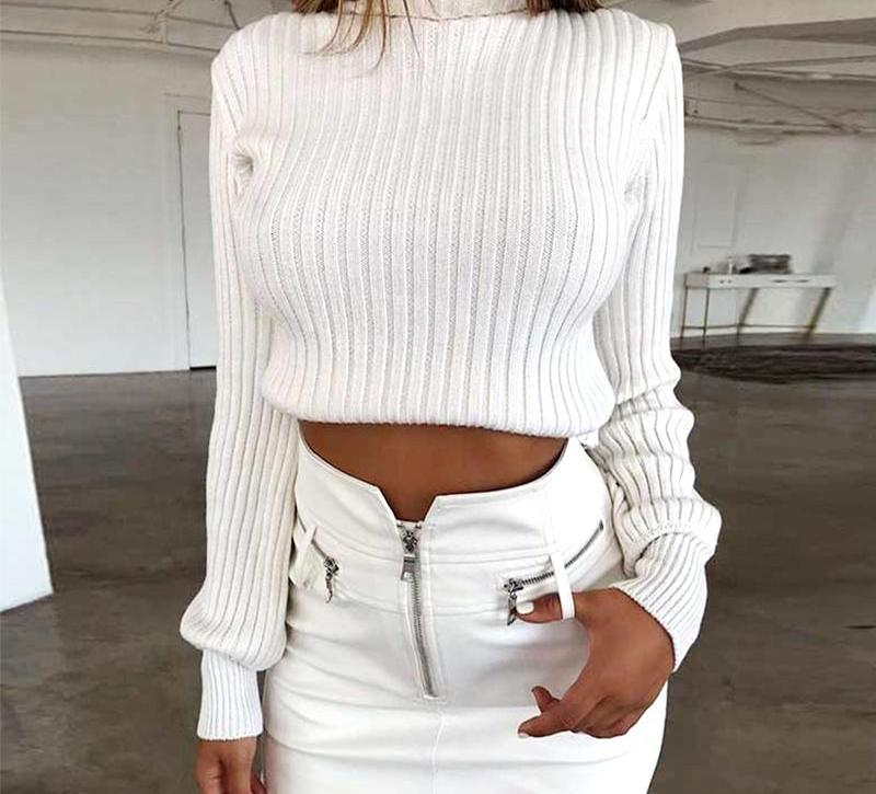 White Cotton Casual Sweater-Pretty Shining People