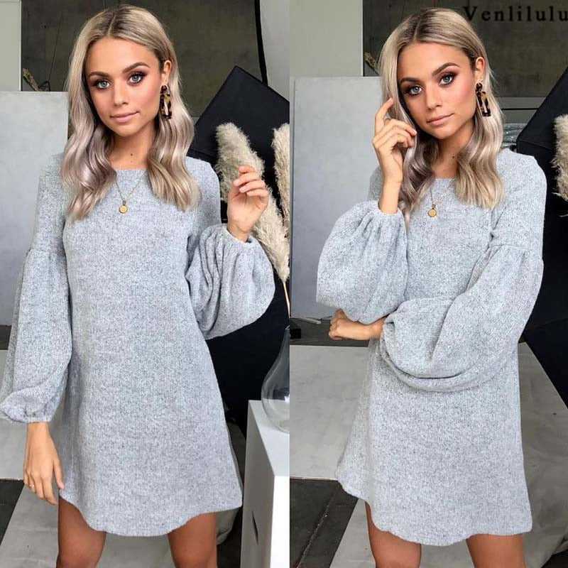 Gray Loose Sweater Dress-Pretty Shining People