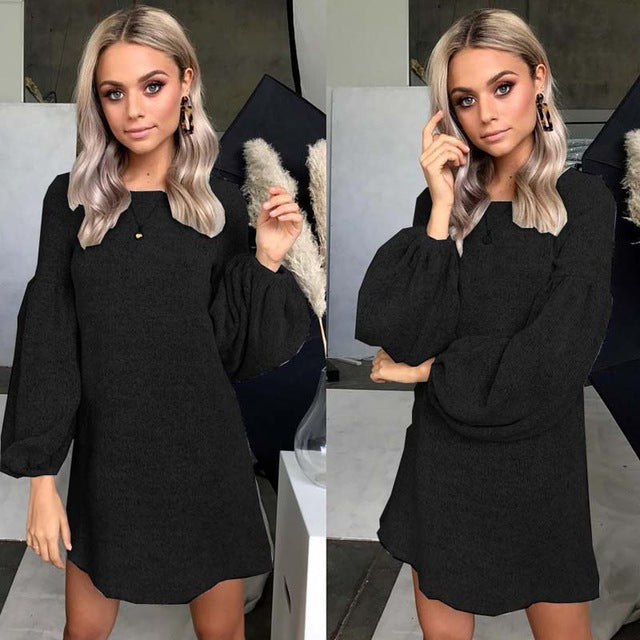 Black Loose Sweater Dress-Pretty Shining People