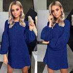 Dark Blue Loose Sweater Dress-Pretty Shining People