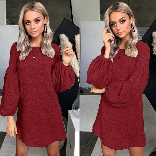 Red Loose Sweater Dress-Pretty Shining People
