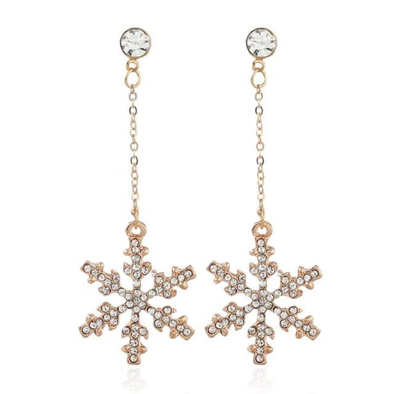 Rhinestone Snowflake Stud Earrings-Pretty Shining People