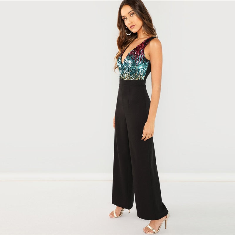 Black Highstreet Colorblock Sequin Jumpsuit-Pretty Shining People