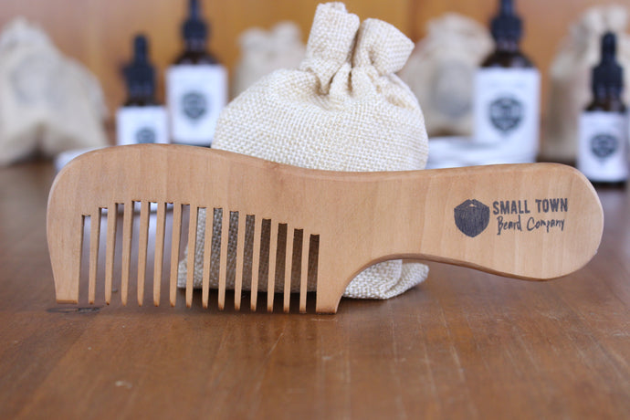 wide tooth handmade peachwood beard comb by Small Town Beard Company Texas
