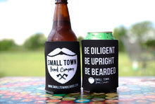 Black Drink Koozies with Small Town Beard Company Logo