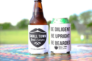 White Drink Koozies with Small Town Beard Company Logo