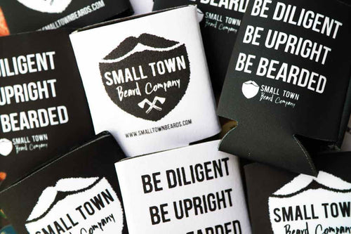 Drink Koozies with Small Town Beard Company Logo