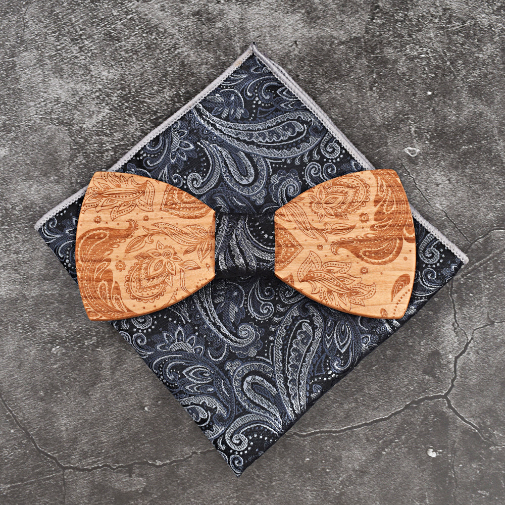 d8f3a62a35c8 ... Load image into Gallery viewer, MAHOOSIVE Decorative Wooden Bow Tie  & Handkerchief Set ...