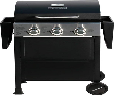 MASTER COOK Barbecue Propane Gas Grill with 3 Burners, 30,000 BTU and two foldable shelves
