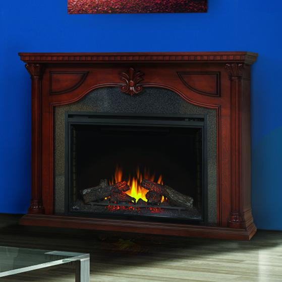 Napoleon Aden 64-Inch Electric Fireplace Mantel Package with 40-Inch Ascent Firebox - Cherry Wood