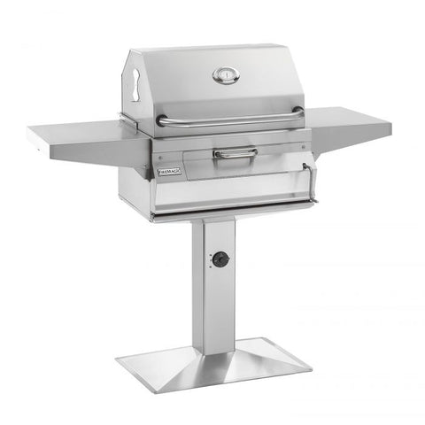 "Image of Fire Magic Legacy 24"" Legacy Smoker Charcoal Grill On Patio Post - 22-SC01C-P6 - Fireplace Choice"