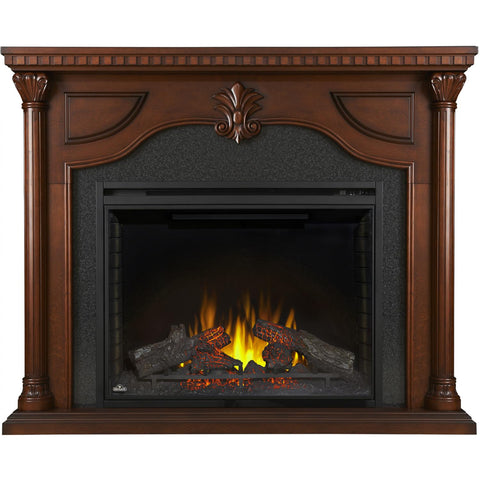 "Image of Napoleon Aden 64"" Electric Fireplace Mantel Package with 40"" Ascent Firebox - Cherry Wood - Fireplace Choice"