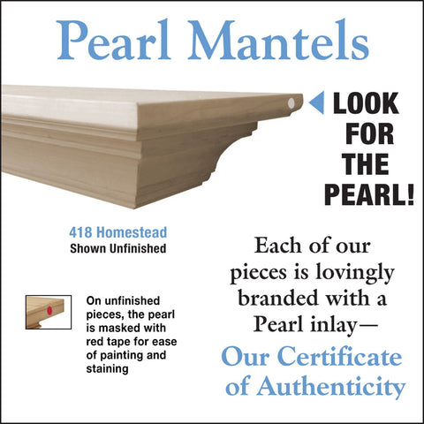 Image of Pearl Mantels Homestead 418 Mantel Shelf - Unfinished - Fireplace Choice
