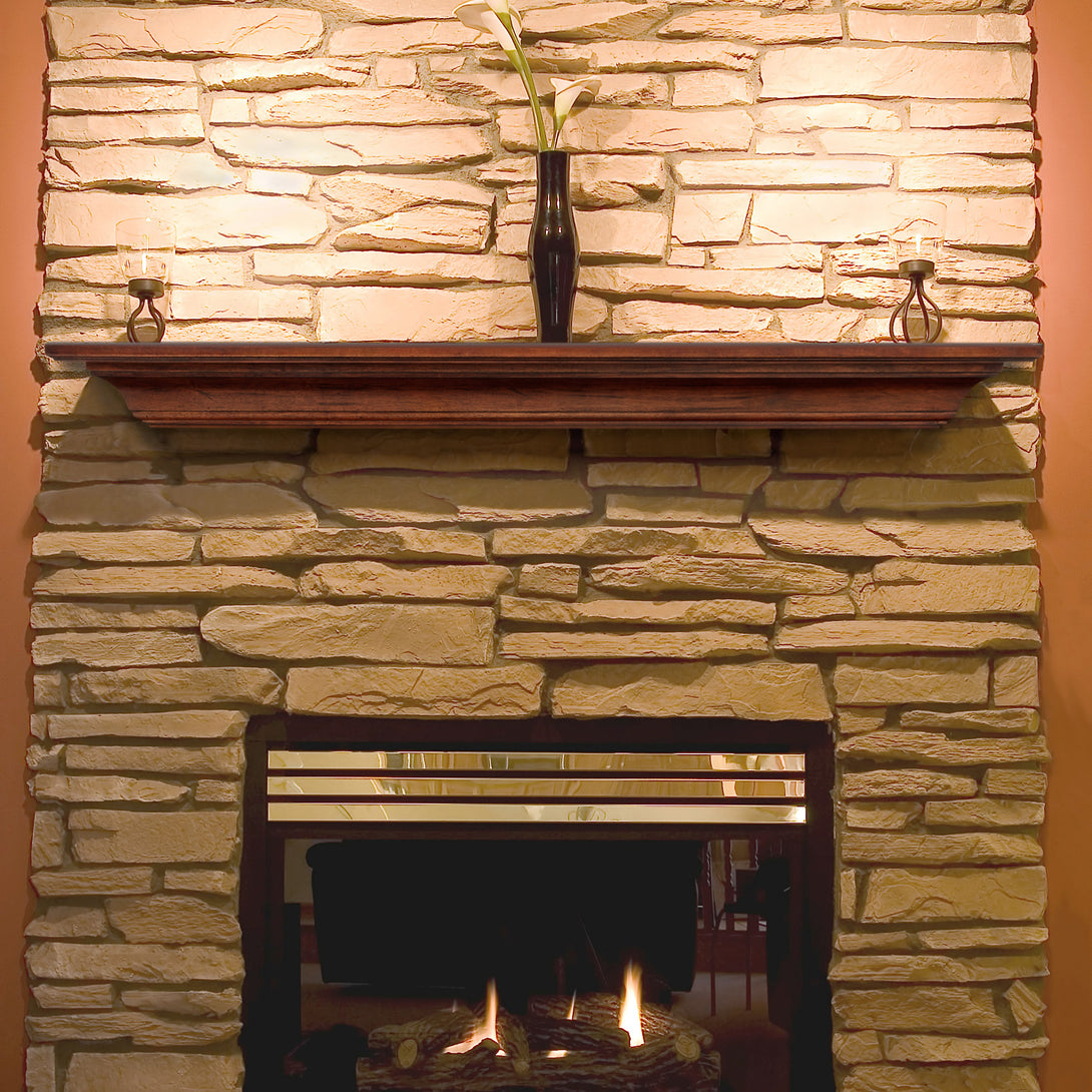 Pearl Mantels 418 Homestead Mantel Shelf - Antique Birch Finish - Fireplace Choice