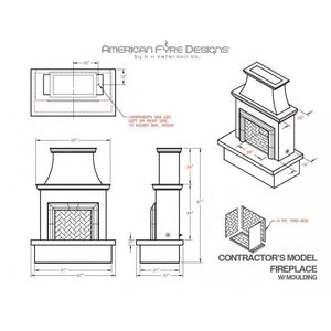 American Fyre Designs Direct-Vent Contractor's Fireplace with Moulding - 045-11-A-WC-RBC - Fireplace Choice