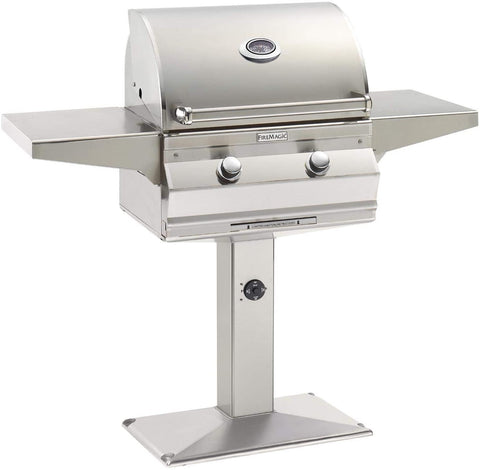 "Image of Fire Magic Choice 24"" Grill With Analog Thermometer On Patio Post -  C430S-RT1-P6 - Fireplace Choice"