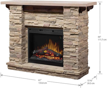 Fieldstone Rustic Electric Fireplace Mantel Package - GDS26L5-904ST - Fireplace Choice