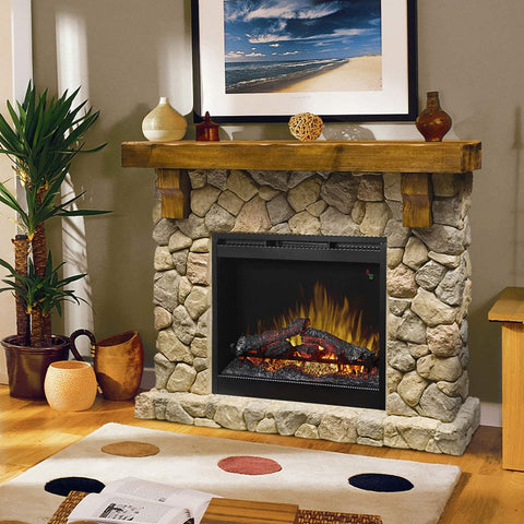 Image of Fieldstone Rustic Electric Fireplace Mantel Package - GDS26L5-904ST - Fireplace Choice