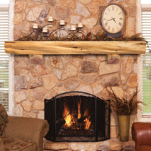 Pearl Mantels 900 Cedar Live Edge Mantel Shelf with Corbet Bracket - Fireplace Choice